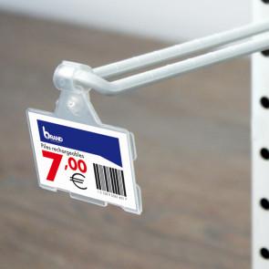 Porte-étiquette broche double 33 x 53 mm.