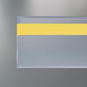 Profil porte-étiquette adhésif plié retour avant hauteur 40 mm